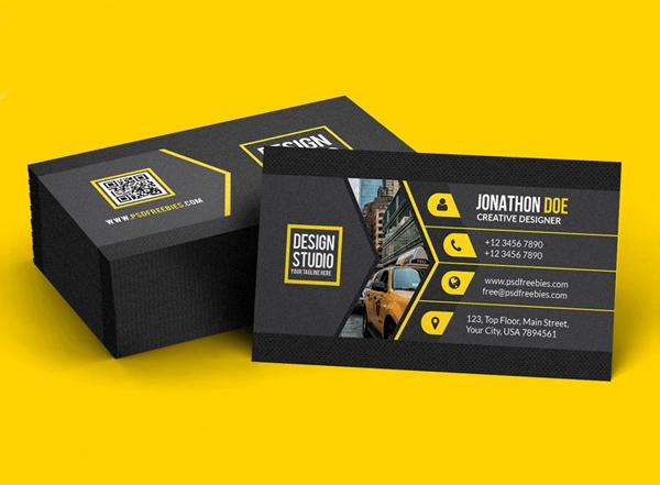 Free Creative Black Business Card Template PSD