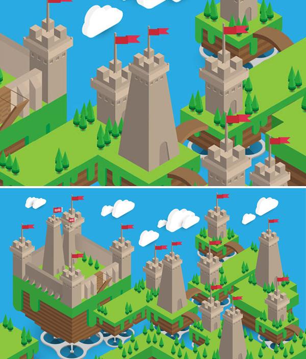 How to Create Isometric Floating Castle Scene Vector Patter in Illustrator