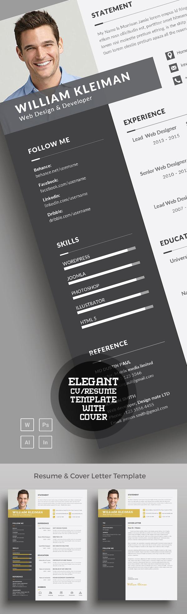 Elegant & Clean Resume/CV Word Template