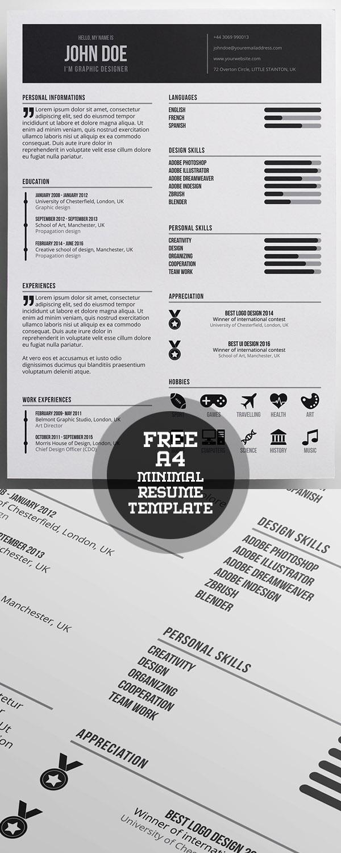 Free Minimal A4 Resume Template