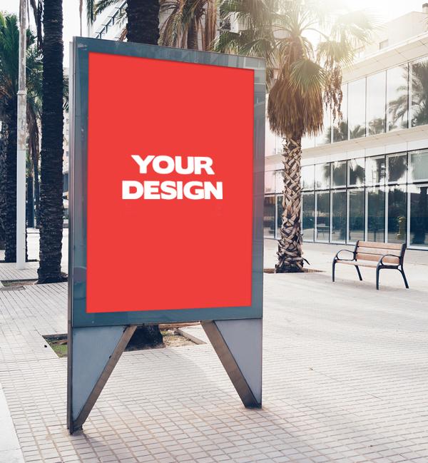 Free Street Display Billboard Mock-up