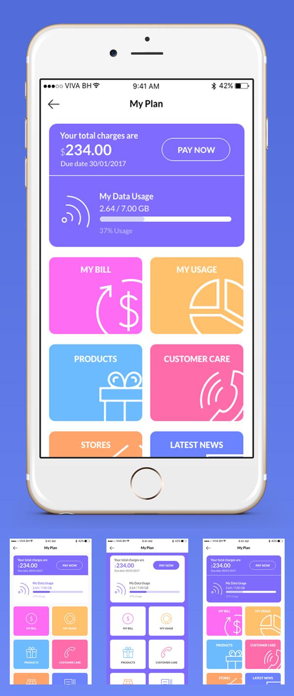 Free Adobe Xd - Mobile Data Usage App Screen