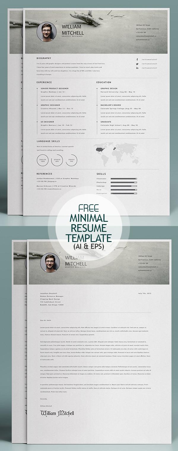 Free Minimal Resume Template (Ai and EPS)