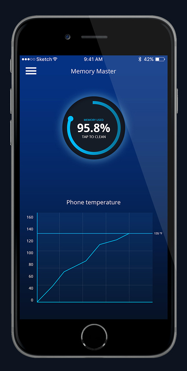 Free Memory Cleaning App PSD Template Design