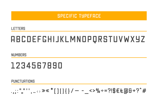 Specific Typeface Free letters