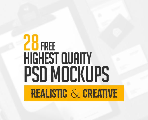 28 Free Highest Quality PSD Mockup Templates