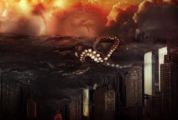 Create Ocean Monster Attack Surreal Digital Art In Photoshop