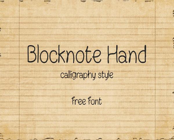 Blocknote Hand Free Font
