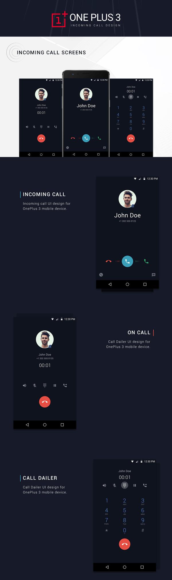 Free ONEPLUS Incoming Call UI Design PSD Template