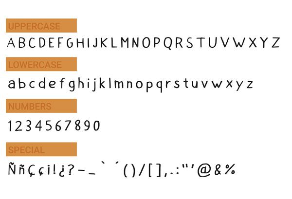 HandRoboto Free Font Letters