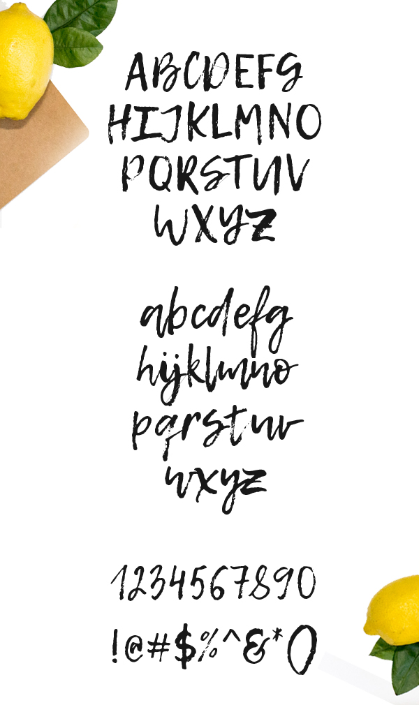 Lemon Tuesday Free Font Letters