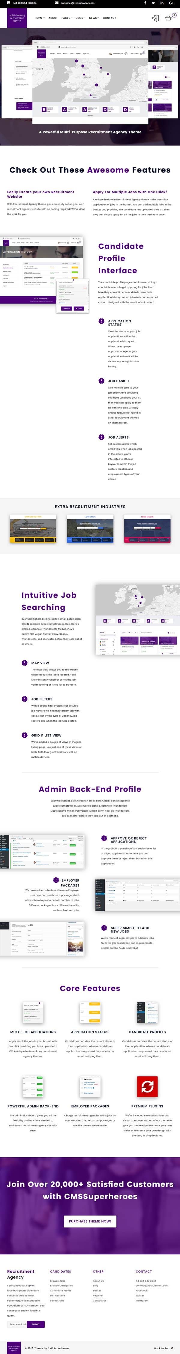 Recruitment Agency : Multi Industry | Responsive WordPress Theme