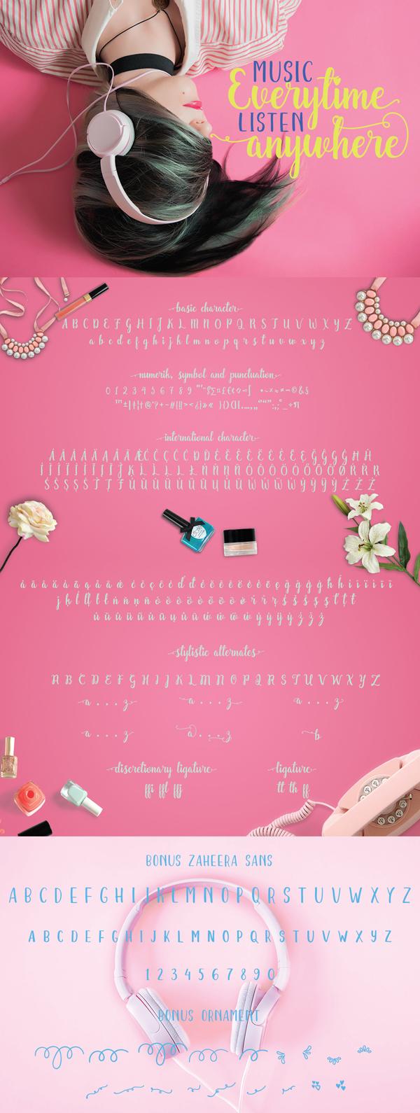 Zaheera Script Free Font Letters