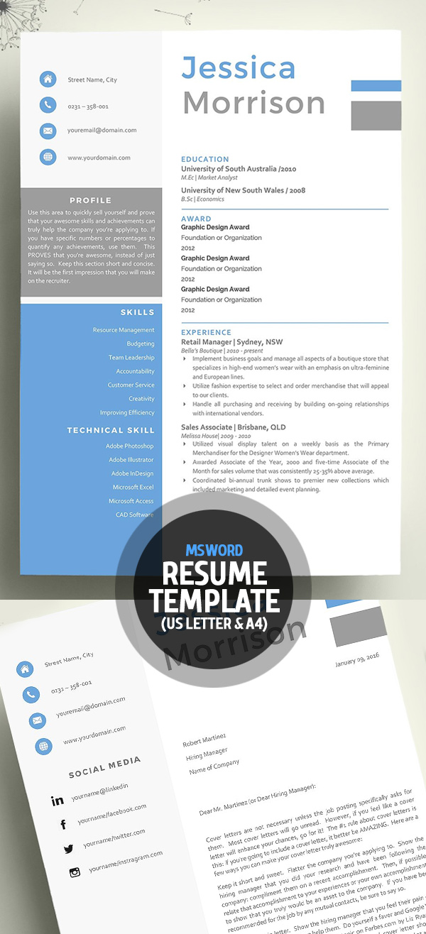 Word Resume with Cover letter Template
