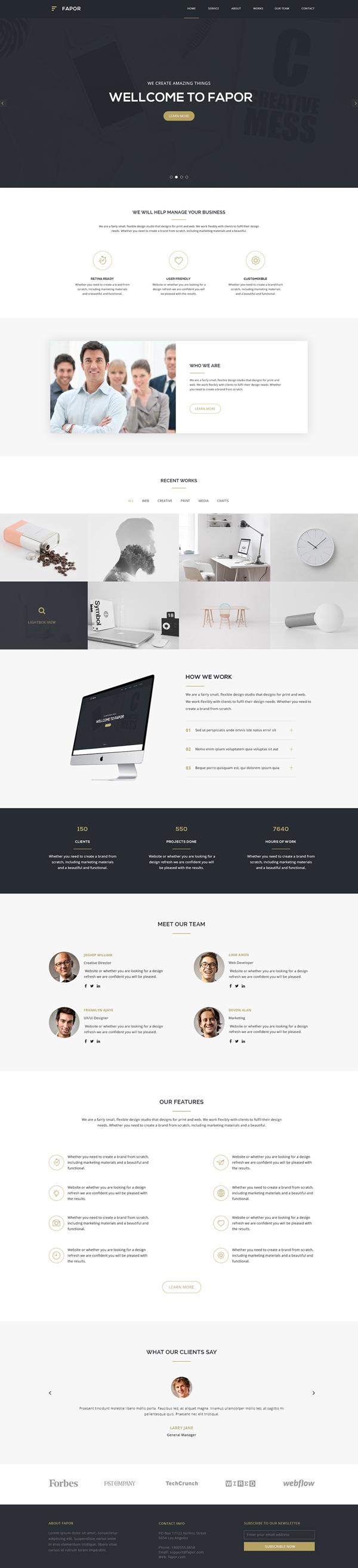 Free Creative Agency Website PSD Template