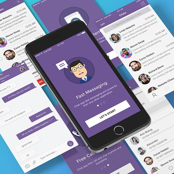 Free Chat App UI KIT PSD