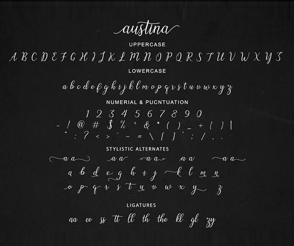 Austina Font Letters