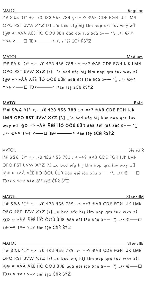 Matol Font Letters