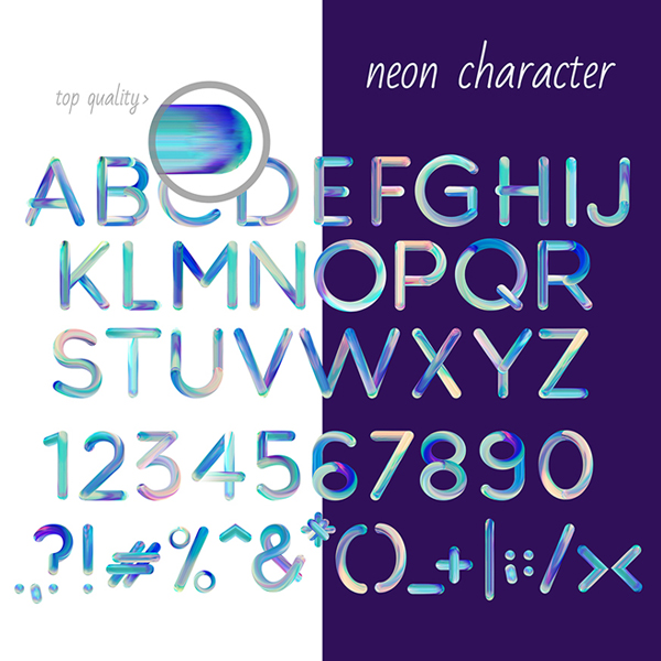Neon Free Font Letters