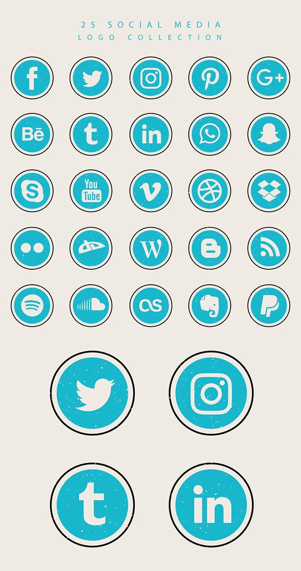 Free Rock Textured Social Media Logo / Icon Set (25 Icons)