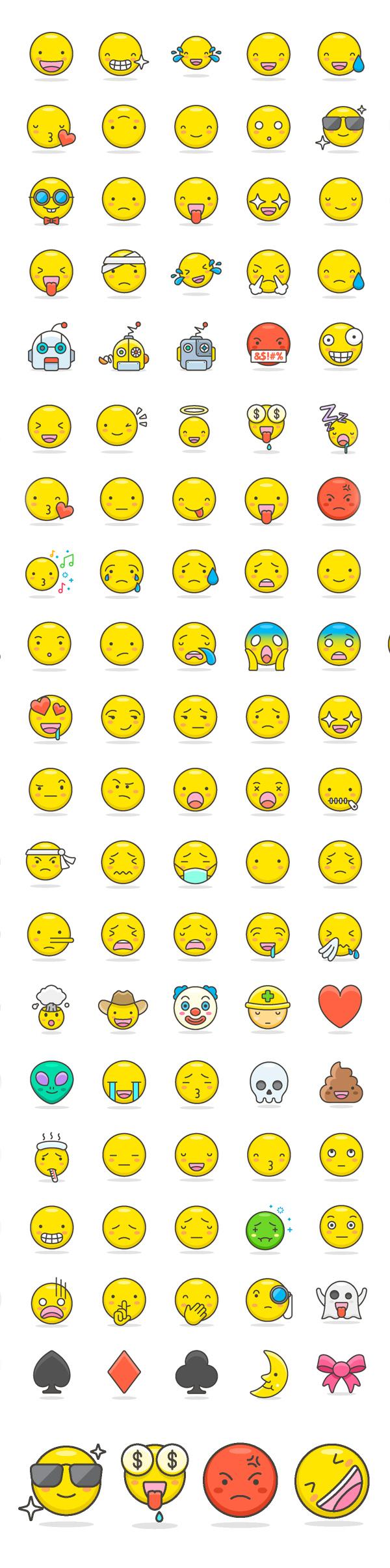 Free Cute Emoji Icons Set (100 Icons)