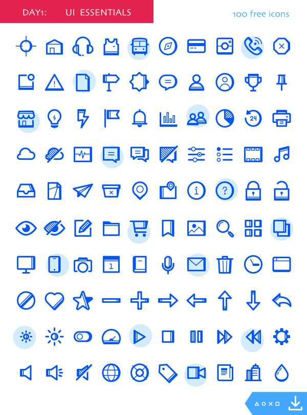 Free UI Essentials Icons (100 Icons)