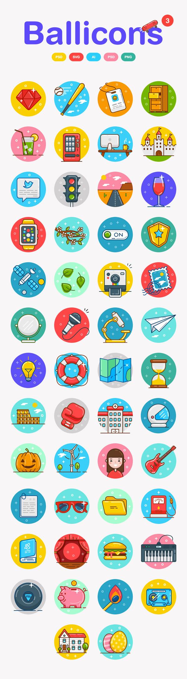 Free Ballicons Icons Set (50 Icons)