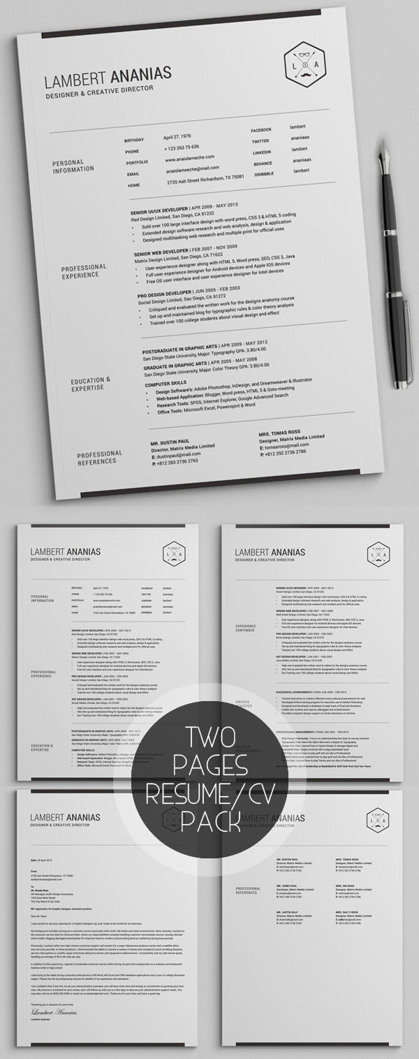 Simple Resume CV with Cover Letter Template