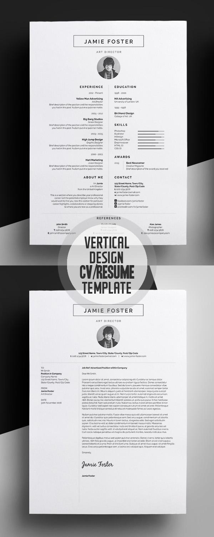 Minimal Vertical Design CV/Resume Template