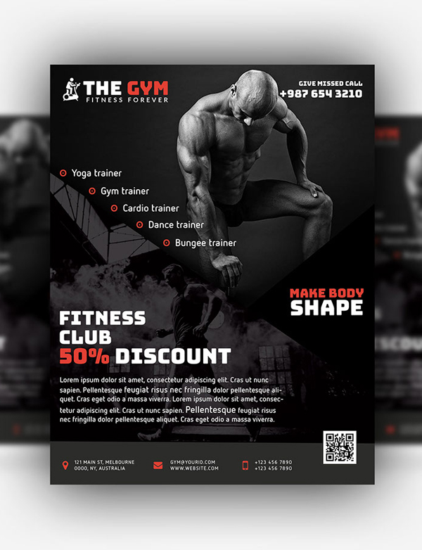 Free GYM Fitness Flyer / Poster PSD Template
