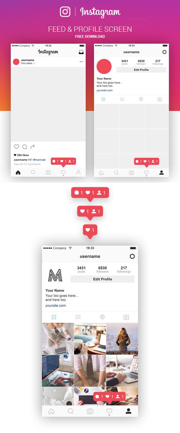 Free Instagram Feed & Profile Screen PSD UI Kit
