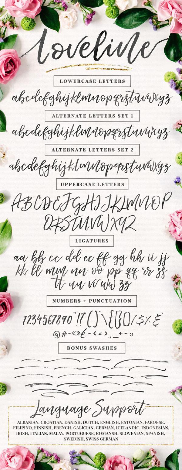 Loveline Brush Script + Swashes free font letters