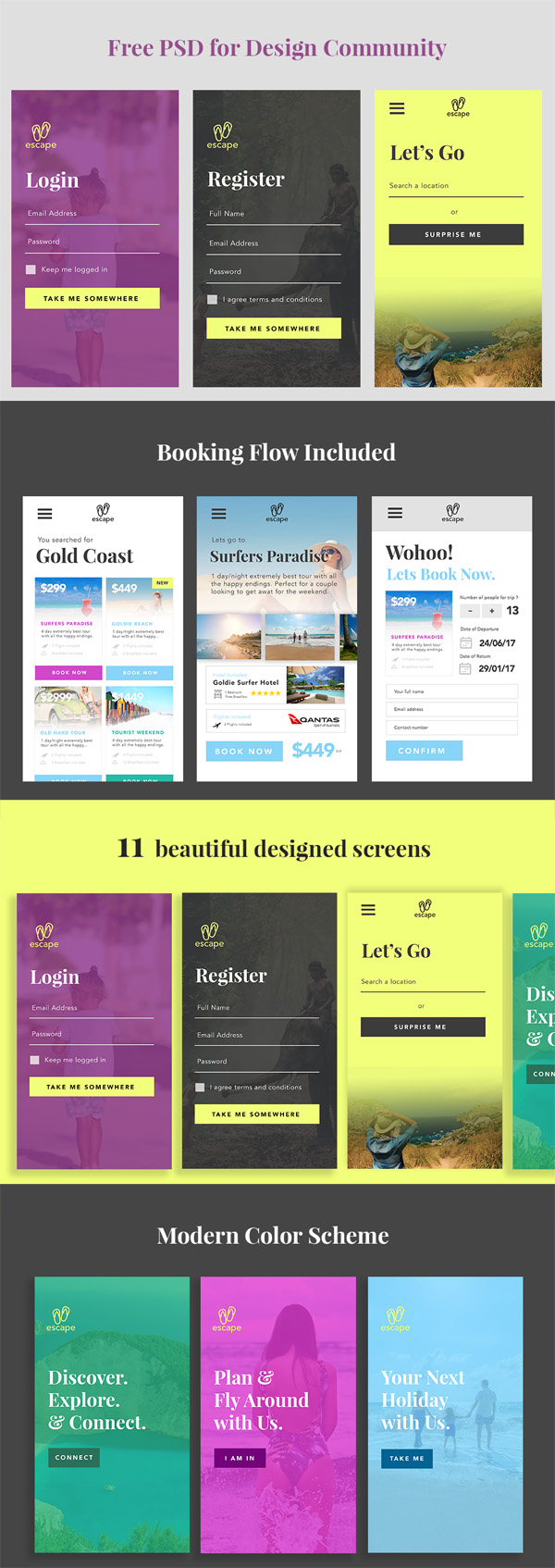 Free PSD Travel App UI