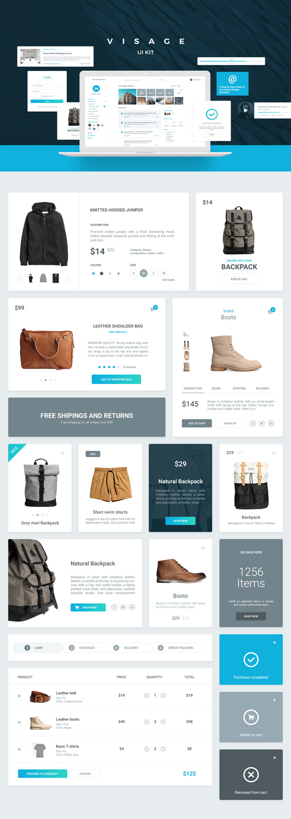 Visage | Free UI Kit | 70+ Elements