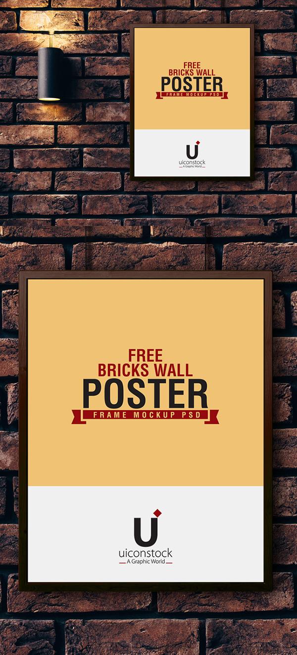 Free Bricks Wall Poster Frame Mockup PSD