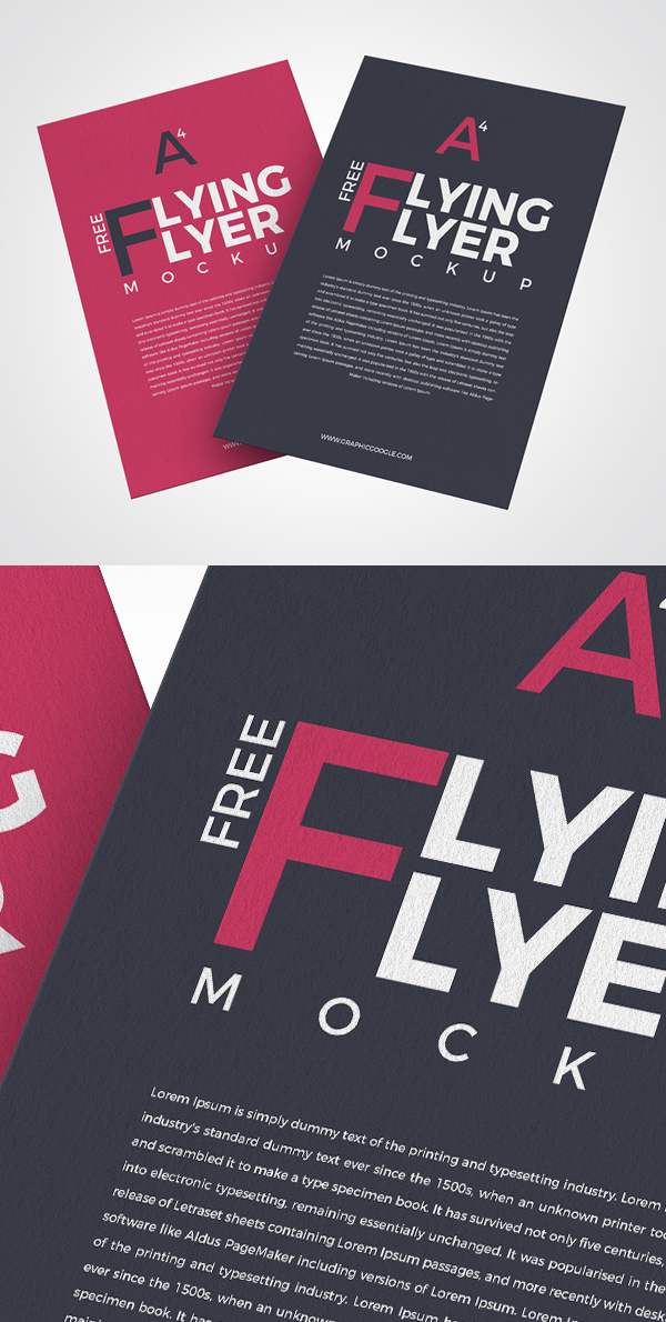 Free Flying Flyer Mockup PSD
