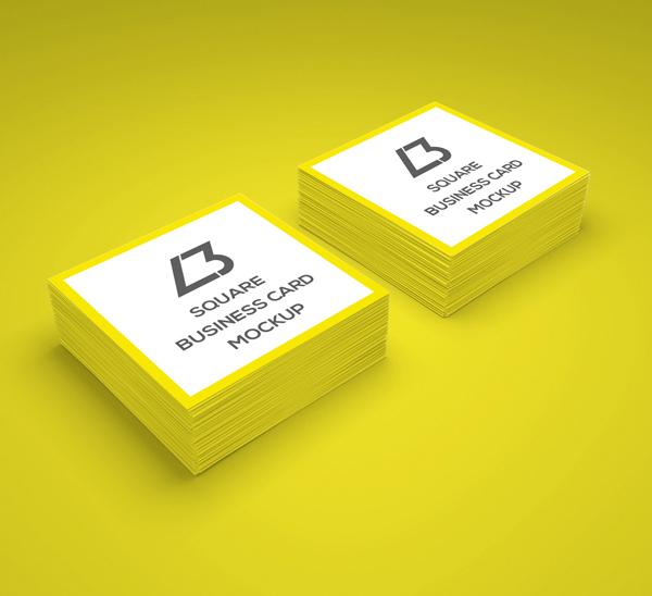 Free Square Business Card PSD Mockup