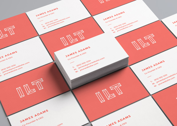 Free Perspective Business Cards MockUp