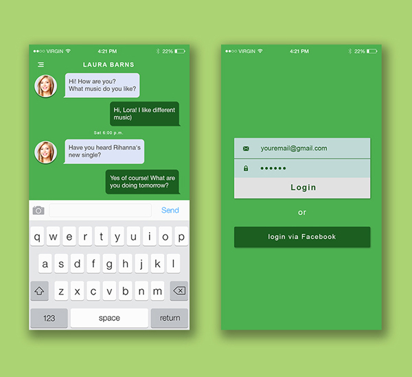iOS Two Screen Mock Up & Material Design Themes