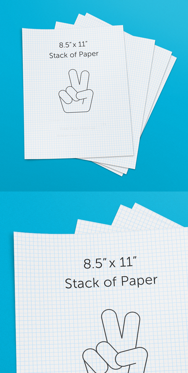 Free 8.5x11 Stack of Paper PSD Mockup