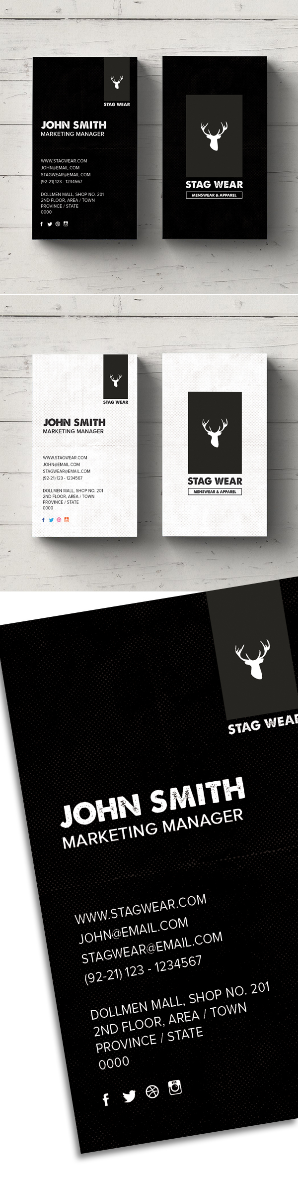 Free Vertical Business Card PSD Template