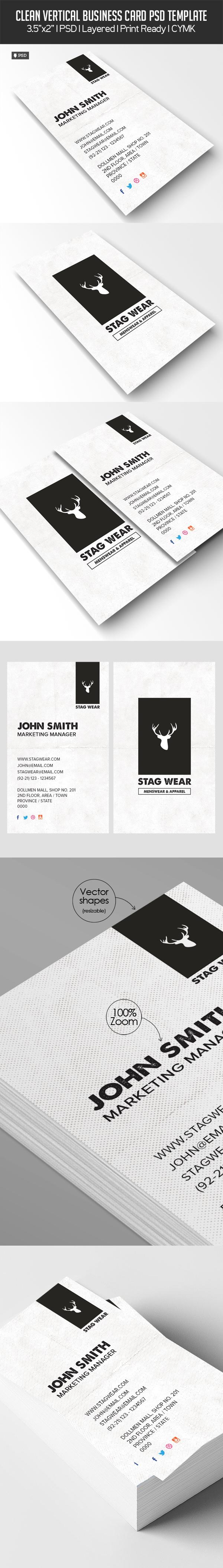 Freebie - Vertical Business Card PSD Template