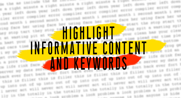 Highlight informative content and keywords
