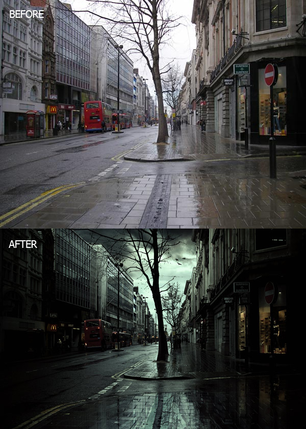 Create a Rainy Scene of London City in Photoshop