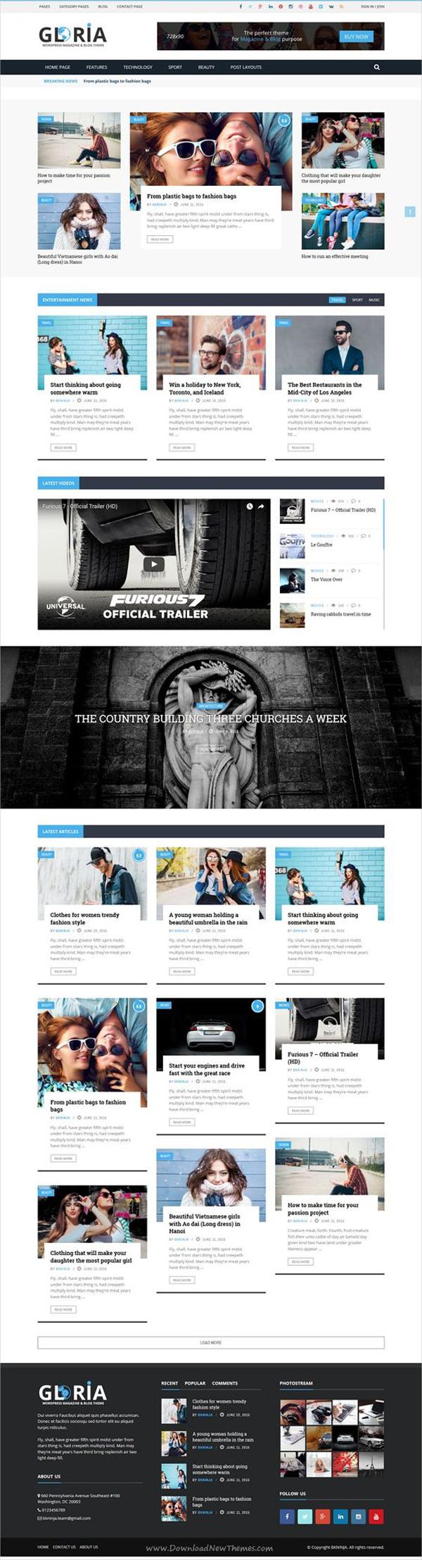 Gloria – Multiple Concepts Blog Magazine WordPress Theme