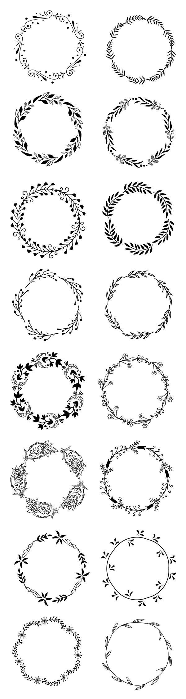 Free Vector Floral Wreath Set