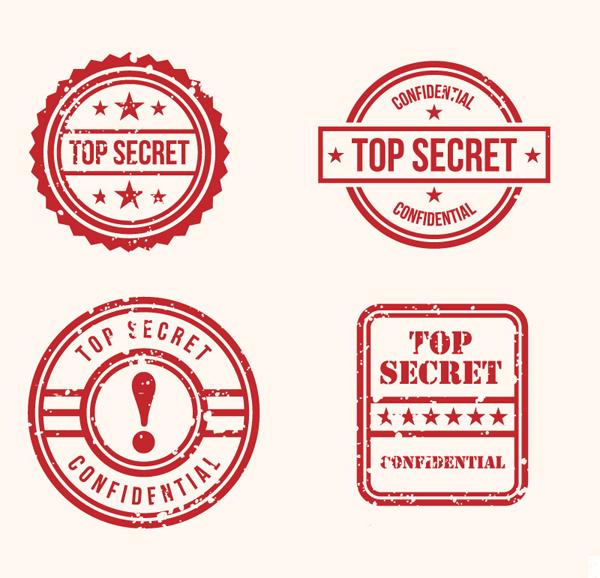 Top Secret Stamps Design Free Vector Graphics