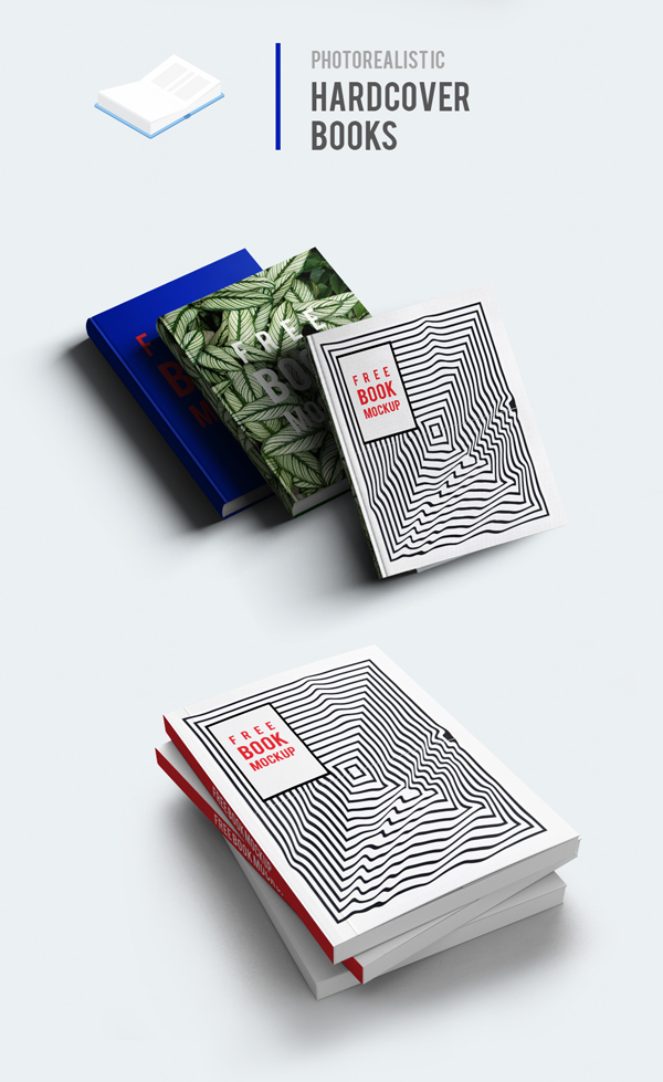 Free Vector HardCover Books Mockup