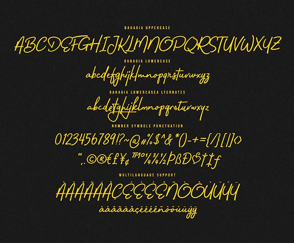Bahagia Free Font Letters