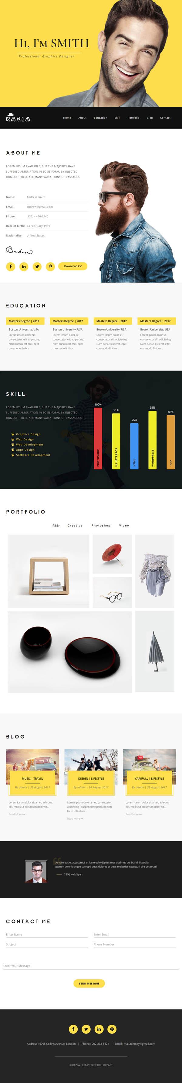 Kazla - Portfolio for Freelancers & Agencies